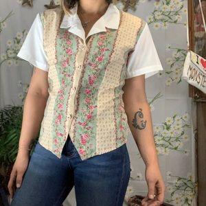 Vintage 80s collared faux vest button front shirt